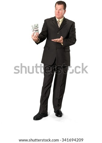 Serious Caucasian elderly man with short medium brown hair in business formal outfit holding money - Isolated