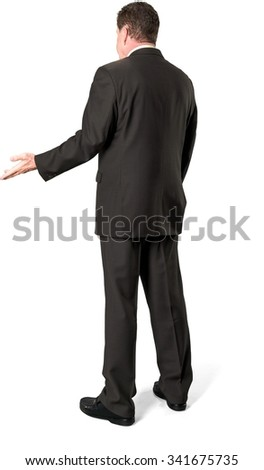 Serious Caucasian elderly man with short medium brown hair in business formal outfit pointing using palm - Isolated
