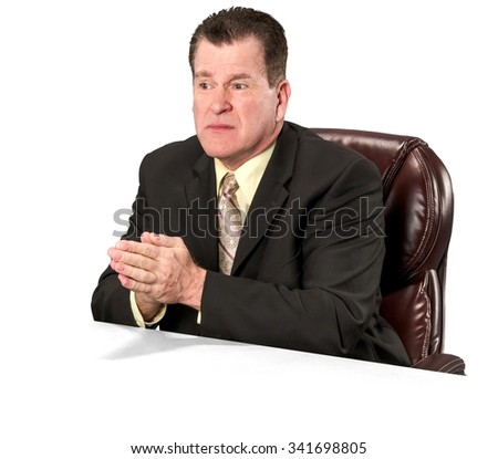 Serious Caucasian elderly man with short medium brown hair in business formal outfit praying - Isolated - stock photo