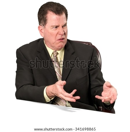 Serious Caucasian elderly man with short medium brown hair in business formal outfit talking with hands - Isolated