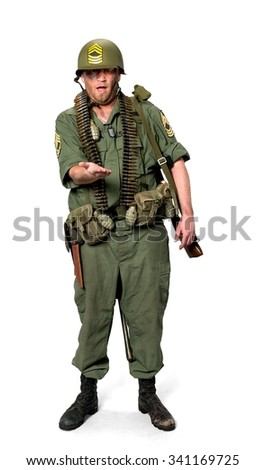 Serious Caucasian man in uniform holding invisible object - Isolated