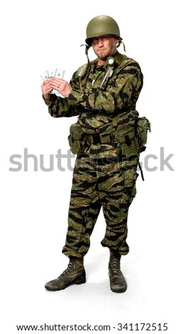 Serious Caucasian man in uniform holding money - Isolated