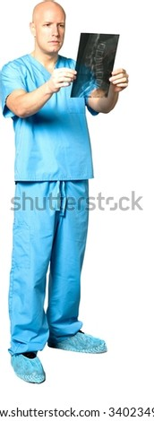 Serious Caucasian man in uniform holding x-ray - Isolated - stock photo