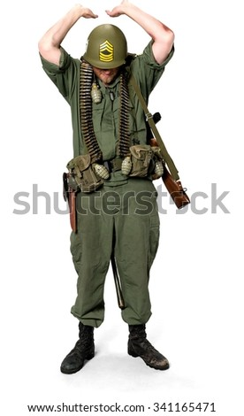 Serious Caucasian man in uniform supporting - Isolated