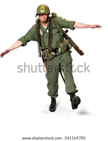 Serious Caucasian man in uniform with arms open - Isolated