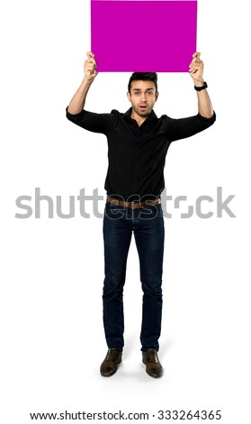 Serious Caucasian man with short black hair in casual outfit holding large sign - Isolated - stock photo