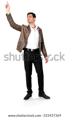 Serious Caucasian man with short dark brown hair in casual outfit pointing using finger - Isolated