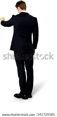 Serious Caucasian man with short medium blond hair in business formal outfit doing fist bump - Isolated