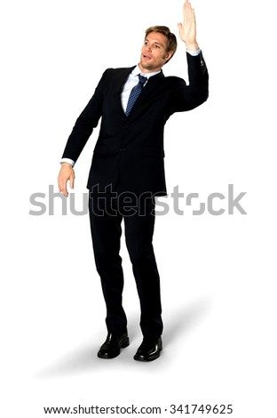 Serious Caucasian man with short medium blond hair in business formal outfit giving high five - Isolated