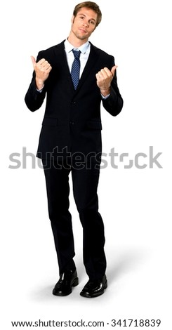 Serious Caucasian man with short medium blond hair in business formal outfit giving thumbs up - Isolated