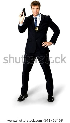 Serious Caucasian man with short medium blond hair in business formal outfit holding handgun - Isolated - stock photo