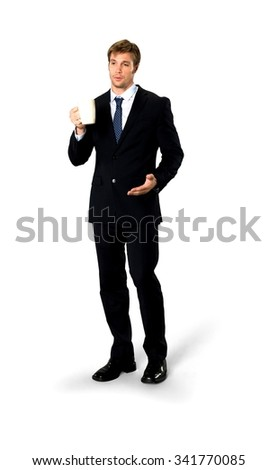 Serious Caucasian man with short medium blond hair in business formal outfit holding mug cup - Isolated