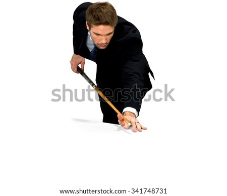 Serious Caucasian man with short medium blond hair in business formal outfit using prop - Isolated - stock photo