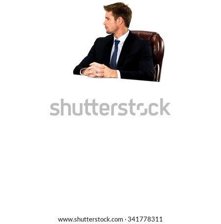 Serious Caucasian man with short medium blond hair in business formal outfit with clasped hands - Isolated