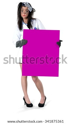 Serious Caucasian young woman with long dark brown hair in uniform holding large sign - Isolated - stock photo