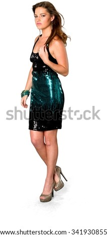 Serious Caucasian young woman with long medium brown hair in evening outfit - Isolated