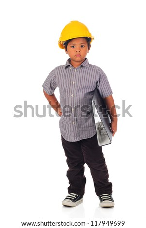 Serious child with a yellow helmet isolated on a over white background