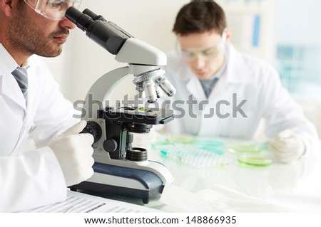 Serious clinician studying chemical element in microscope