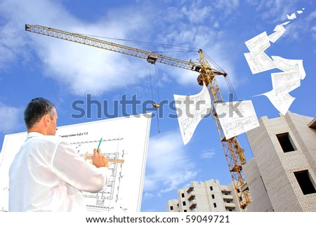 serious engineer-designing resolve compound architectural problem - stock photo