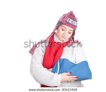 serious fat young woman with broken hand - stock photo