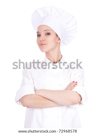 serious female cook in white uniform and hat