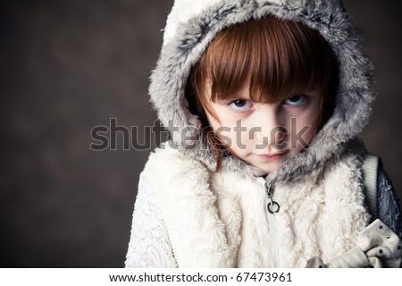 serious girl - stock photo
