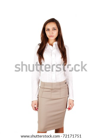 Serious girl in a blouses on white background - stock photo