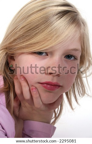 Serious girl in portrait - stock photo