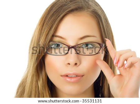 Serious girl with glasses 2 - stock photo