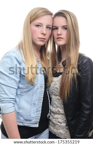 Serious girls - stock photo