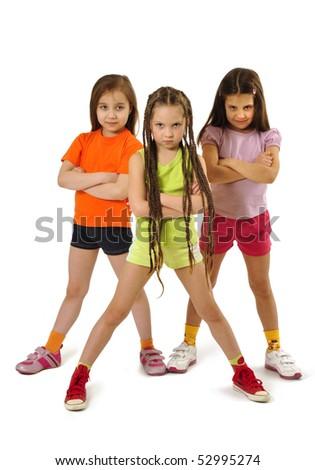 serious girls - stock photo