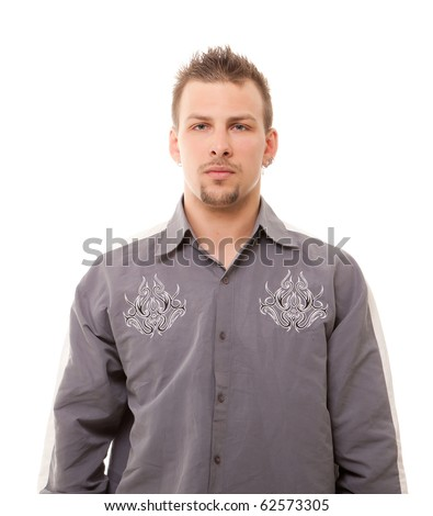 serious handsome young man standing on white background