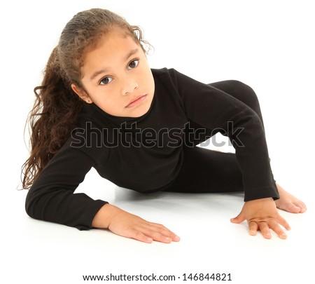 Serious Hispanic Preschooler Crawling on White Floor. Clipping path. - stock photo