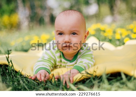 serious little baby in flowers field - stock photo