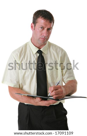 Serious Looking Businessman Writing Notes on Isolated Background - stock photo