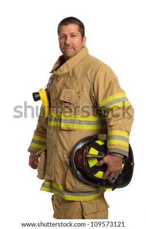 Serious looking confident firefighter standing portrait isolated on white - stock photo