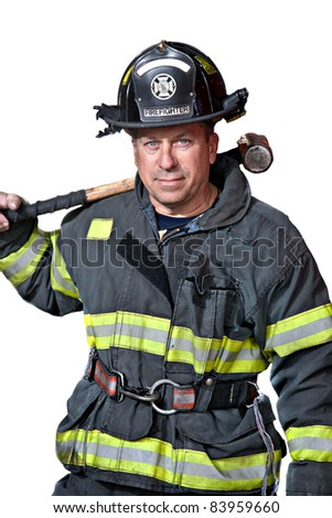 Serious looking confident firefighter standing portrait isolated on white background - stock photo