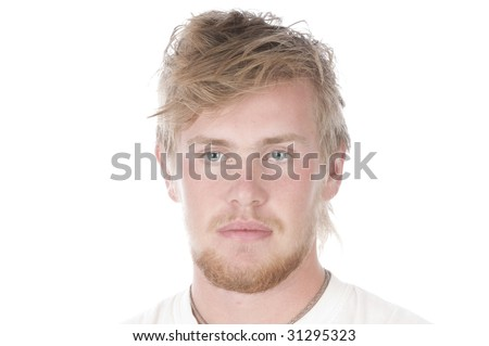 serious looking handsome young man isolated over white