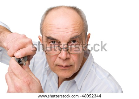 serious man in glasses with Screwdriver isolated on white - stock photo