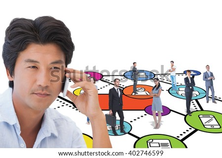 Serious man on a phone call against social networking concept - stock photo