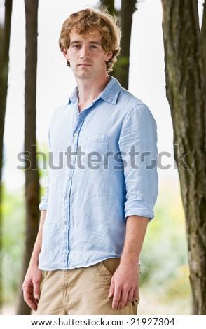 Serious man outdoors - stock photo