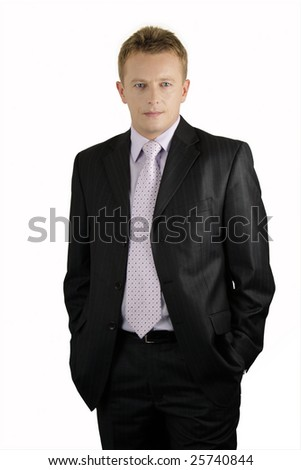 serious middle age attractive business man standing isolated on white background