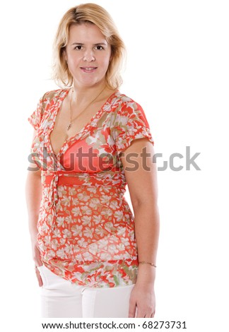Serious middle age woman isolated on white - stock photo