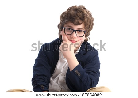 Serious nerd with glasses over white background  - stock photo