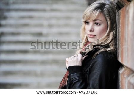 Serious Outdoor Fashion Shoot Portrait - stock photo