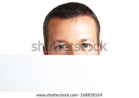 Serious portrait - Portrait of a young man - looking straight into cam - lots of copyspace and room for text on this isolate - stock photo