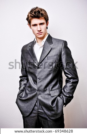 Serious rich successful guy portrait - stock photo