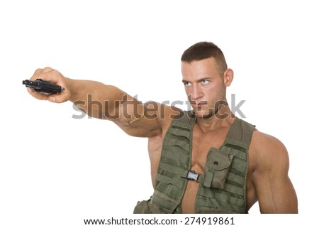 Serious soldier aiming gun isolated on white background. War on terrorism.