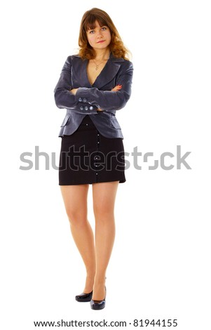 Serious woman in a business suit on white