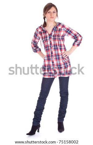 serious young long hair woman in check shirt, full length, series